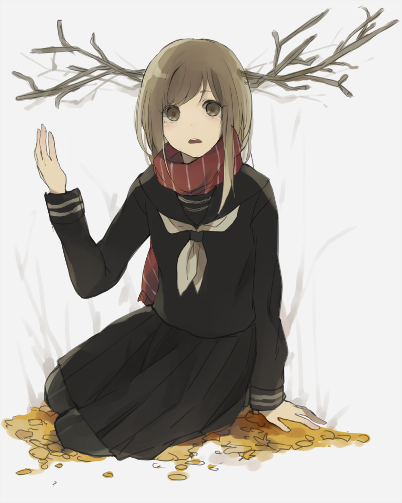 1girl antlers autumn_leaves brown_eyes brown_hair c4991 original scarf school_uniform serafuku sticks