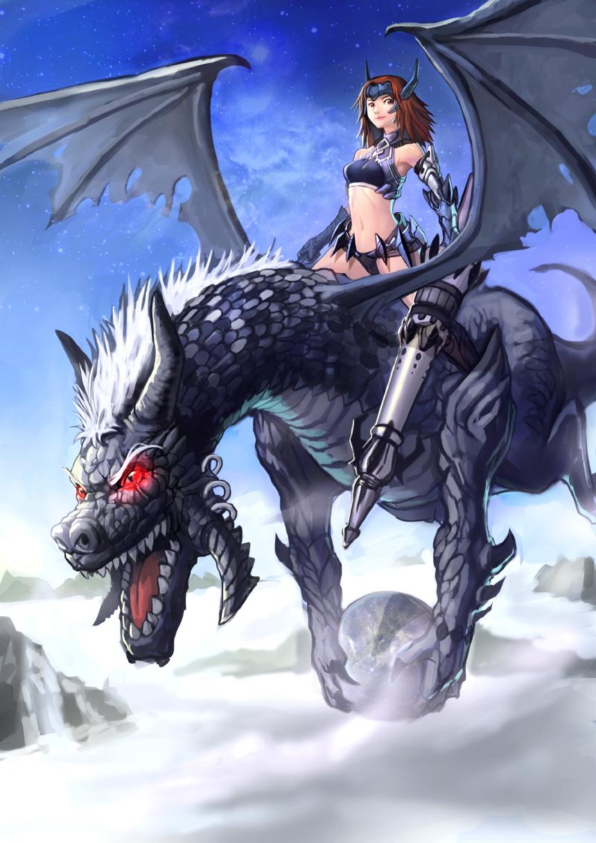 1girl armor bikini_armor breasts brown_eyes brown_hair cloud day dragon dragon_riding goomrrat highres long_hair medium_breasts midriff navel original polearm sky smile solo spear weapon