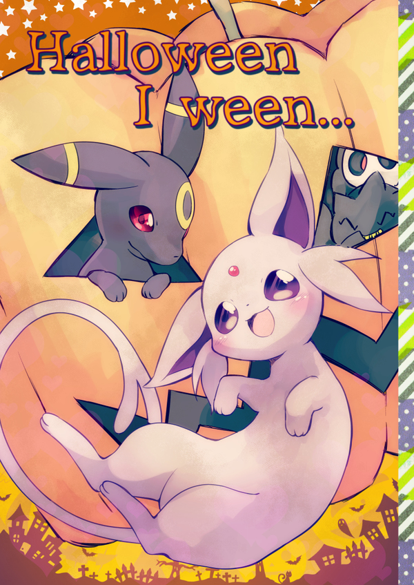 abstract_background ambiguous_gender banette duskull eeveelution english_text espeon feral group halloween happamushi holidays nintendo pokémon purple_eyes red_eyes tagme text umbreon video_games