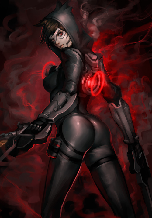 1girl alternate_color ass bodysuit breasts brown_eyes brown_hair cowboy_shot dark_persona dual_wielding fusion gun handgun harness hood looking_at_viewer looking_back looking_to_the_side medium_breasts overwatch phamoz reaper_(overwatch) short_hair skin_tight smoke solo spiked_hair tracer_(overwatch) weapon