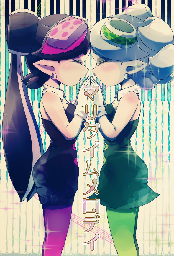 2girls aori_(splatoon) black_dress black_hair closed_eyes cowboy_shot detached_collar domino_mask dress earrings food food_on_head from_side gloves hands_together happamushi hotaru_(splatoon) jewelry long_hair mask multiple_girls object_on_head pantyhose parted_lips pointy_ears short_dress short_hair short_jumpsuit splatoon standing strapless strapless_dress symmetrical_hand_pose symmetry tentacle_hair white_gloves