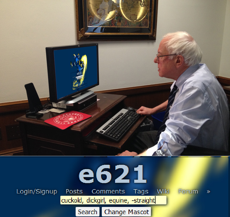 The Big Imageboard Tbib 2015 Bernie Sanders Cuckold Desktop Dickgirl E621 E621 Mascot Equine Human Humor Intersex Keyboard Mammal Monitor Not Furry Office Old Unknown Artist 5485672 Material e621 communicates directly with e621.net using the official jsonp api or all requests where this is possible. the big imageboard