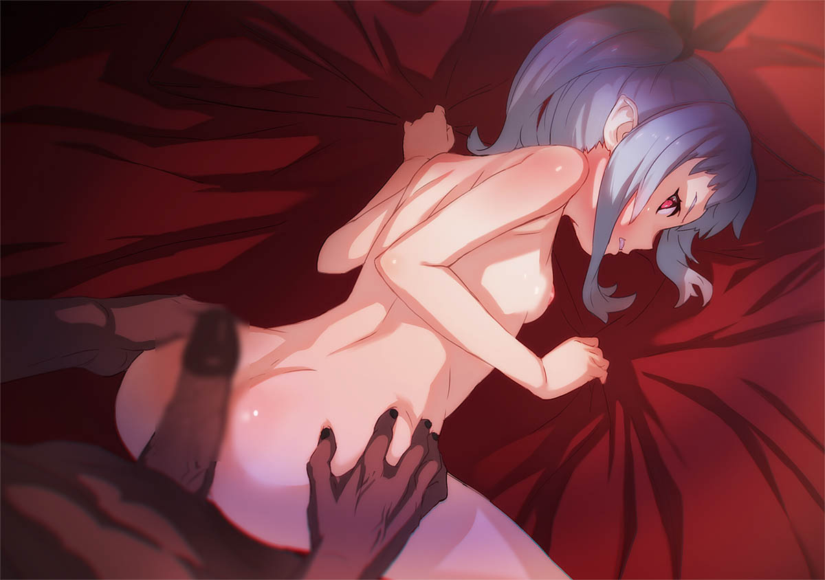 1boy 1girl all_fours aritsuka_ariichi ass ass_grab blue_hair breasts censored clenched_teeth dark_skin imminent_sex large_penis looking_back nipples original penis red_eyes side_ponytail small_breasts teeth
