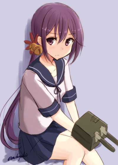 1girl akebono_(kantai_collection) bell blue_skirt flower grey_background hair_bell hair_flower hair_ornament jingle_bell kantai_collection long_hair long_sleeves machinery mashayuki pleated_skirt purple_eyes purple_hair red_flower sailor_collar school_uniform serafuku side_ponytail skirt solo twitter_username very_long_hair