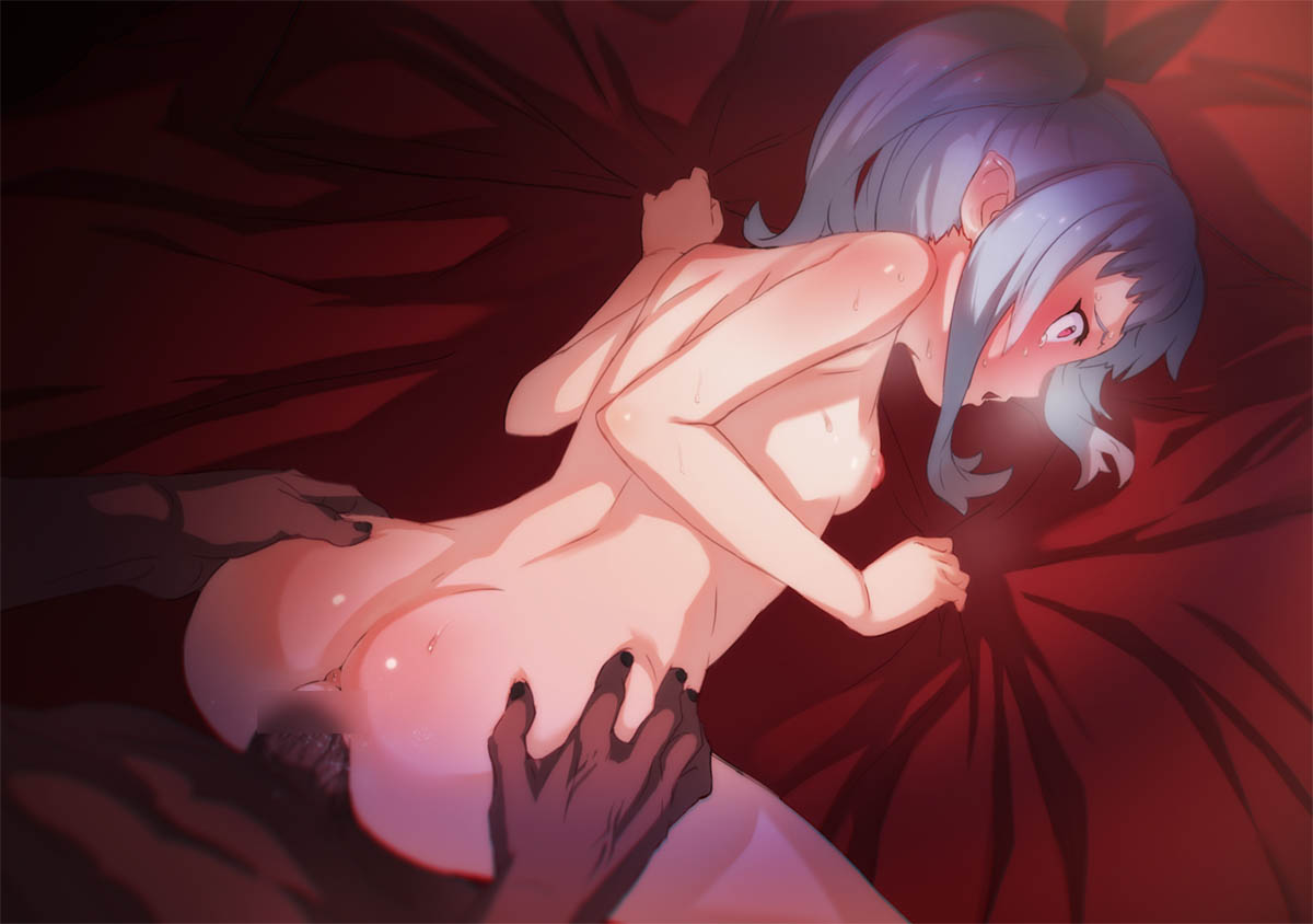1boy 1girl all_fours anus aritsuka_ariichi ass ass_grab blue_hair breasts censored dark_skin doggystyle large_penis nipples original penis red_eyes sex side_ponytail small_breasts sweat vaginal wide-eyed