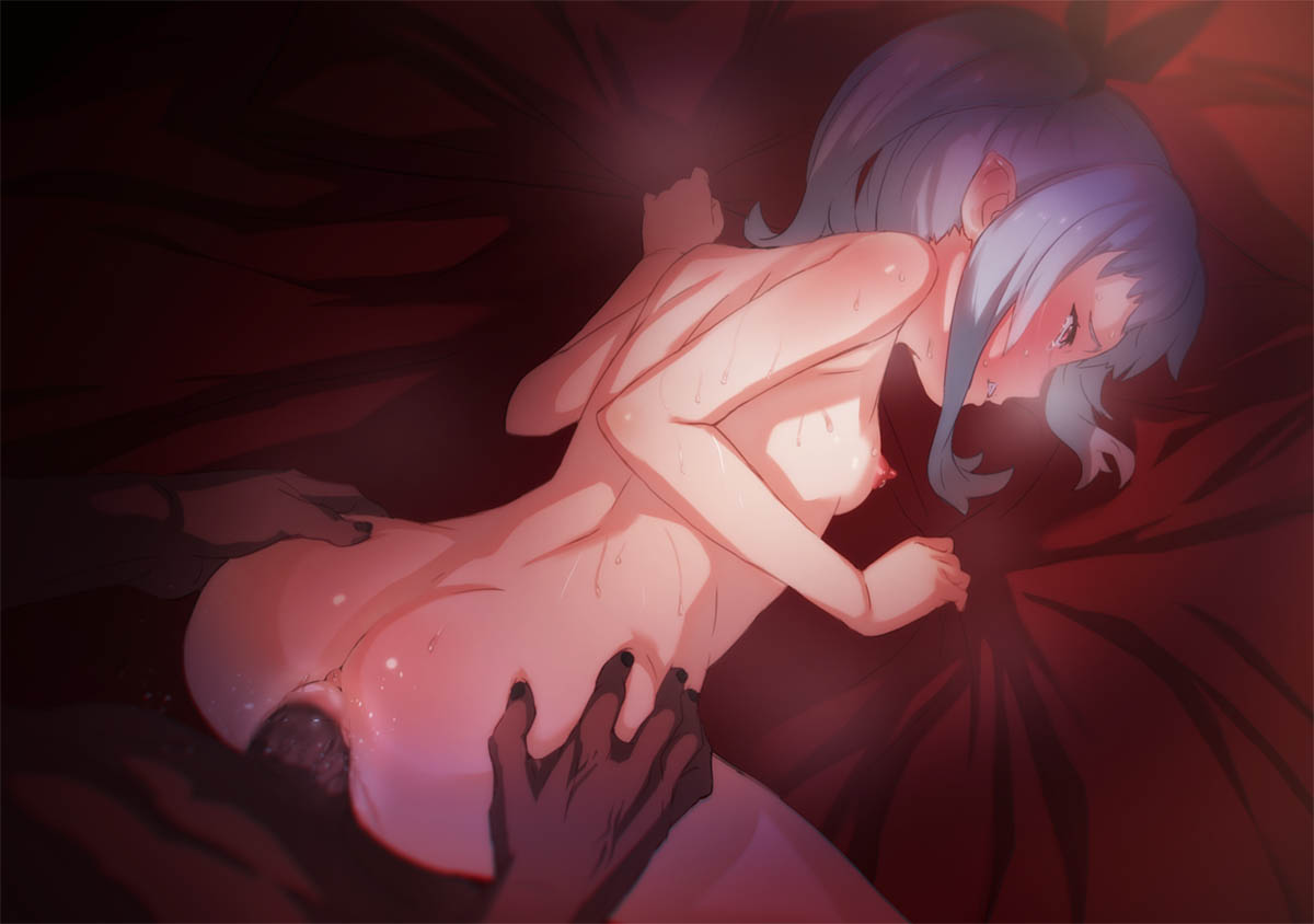 1boy 1girl all_fours anus aritsuka_ariichi ass ass_grab blue_hair breasts censored clenched_teeth dark_skin doggystyle large_penis nipples original penis red_eyes sex side_ponytail small_breasts teeth vaginal