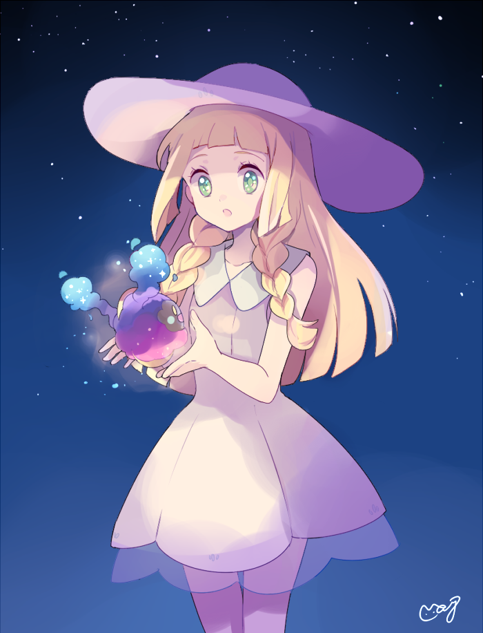 1girl bangs blonde_hair blunt_bangs braid cosmog dress green_eyes hat lillie_(pokemon) long_hair mei_(maysroom) open_mouth pokemon pokemon_(creature) pokemon_(game) pokemon_sm see-through sky sleeveless sleeveless_dress star_(sky) sun_hat sundress twin_braids white_dress white_hat