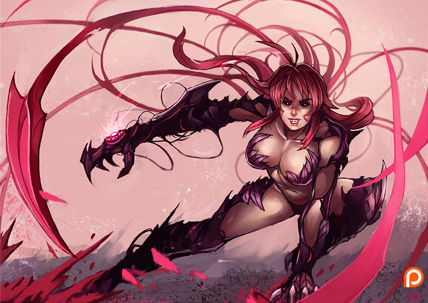 1girl amaha_masane antenna_hair armor black_sclera breasts claws cleavage evil_grin evil_smile grin kachima large_breasts long_hair patreon_logo red_hair smile solo witchblade yellow_eyes