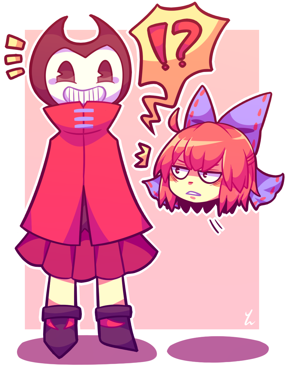 1boy 1girl bendy_and_the_ink_machine crossover demon grin red_hair sekibanki touhou