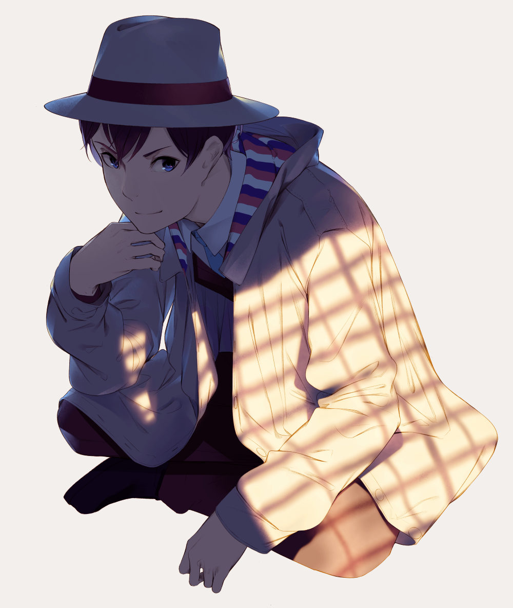 1boy beige_jacket blue_eyes blue_necktie brown_hair closed_mouth collared_shirt fedora full_body hat long_sleeves looking_at_viewer male_focus necktie sawasawa shirt simple_background smile squatting trench_coat white_background white_shirt wing_collar