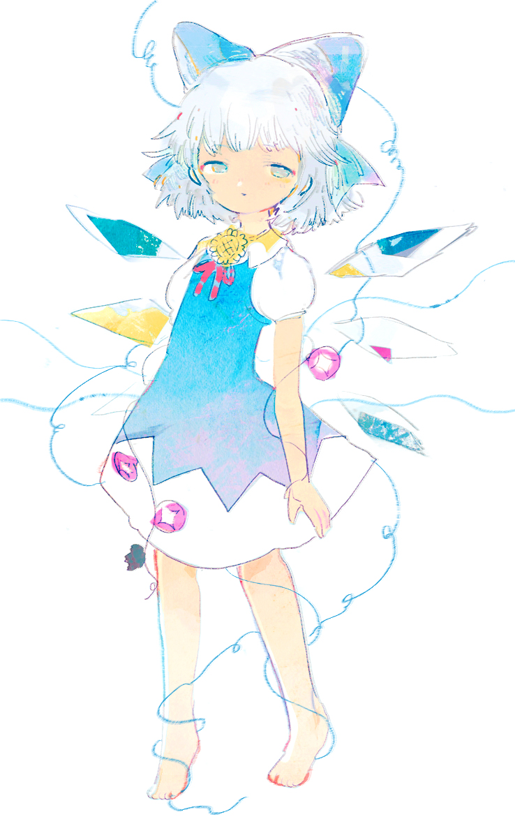 1girl anabone arms_at_sides barefoot blue_dress cirno dress flower full_body hair_ribbon half-closed_eyes hidden_star_in_four_seasons ice ice_wings light_blue_hair looking_at_viewer plant puffy_short_sleeves puffy_sleeves ribbon shirt short_dress short_hair short_sleeves simple_background solo touhou vines white_background white_shirt wings