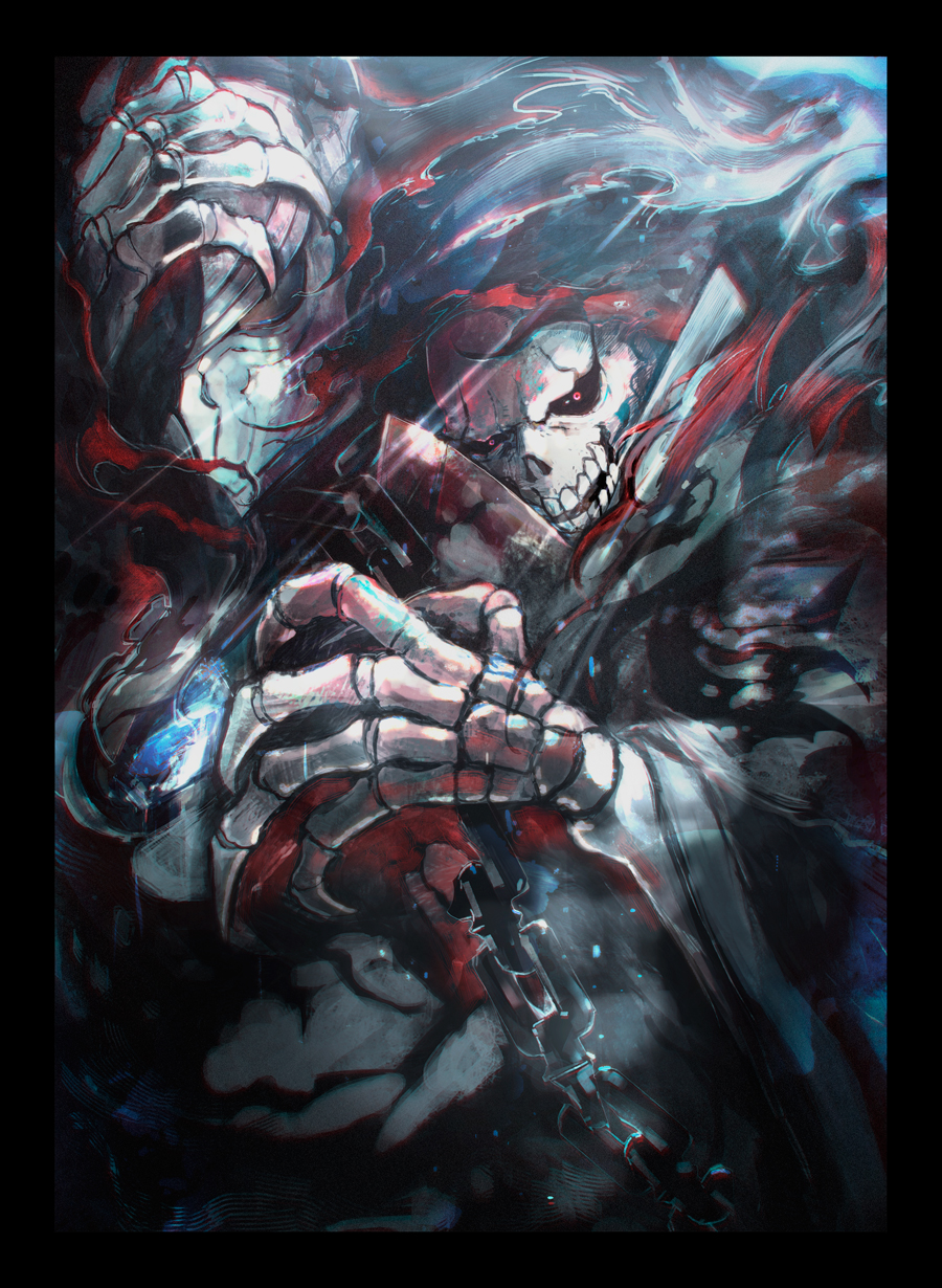 2boys ainz_ooal_gown armor black_border black_cloak black_sclera border breastplate chains cloak full_armor highres hood hood_up hooded_cloak horocca lich looking_at_viewer male_focus multiple_boys overlord_(maruyama) plate_armor red_eyes skeleton skull touch_me upper_body