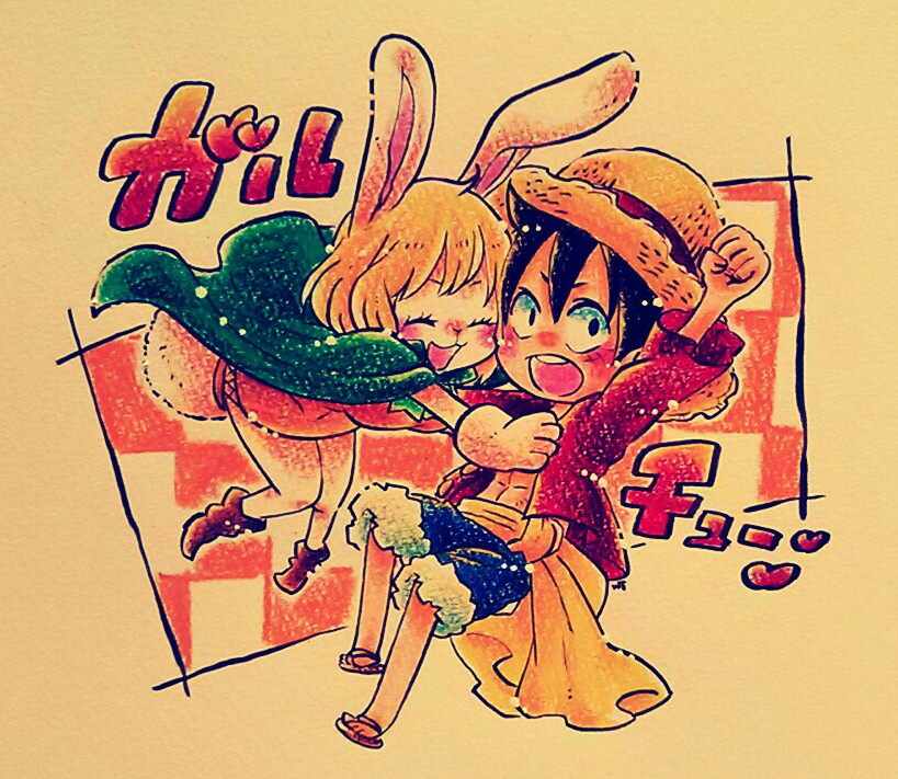 1boy 1girl blonde_hair blush breasts bunny bunny_ears bunny_girl bunny_tail carrot_(one_piece) monkey_d_luffy one_piece
