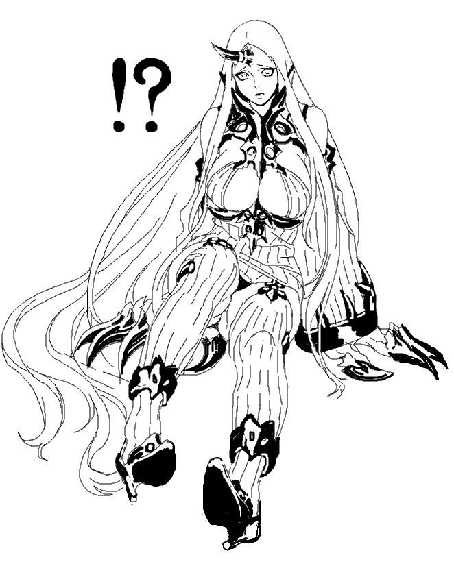 ! !? 1girl absurdly_long_hair boots breasts claws cleavage collar cosmic_bear detached_sleeves dress high_collar high_heel_boots high_heels horn kantai_collection large_breasts lineart long_hair looking_at_viewer monochrome ribbed_dress seaport_water_oni shinkaisei-kan short_dress sitting solo spoken_exclamation_mark thigh_boots thighhighs very_long_hair