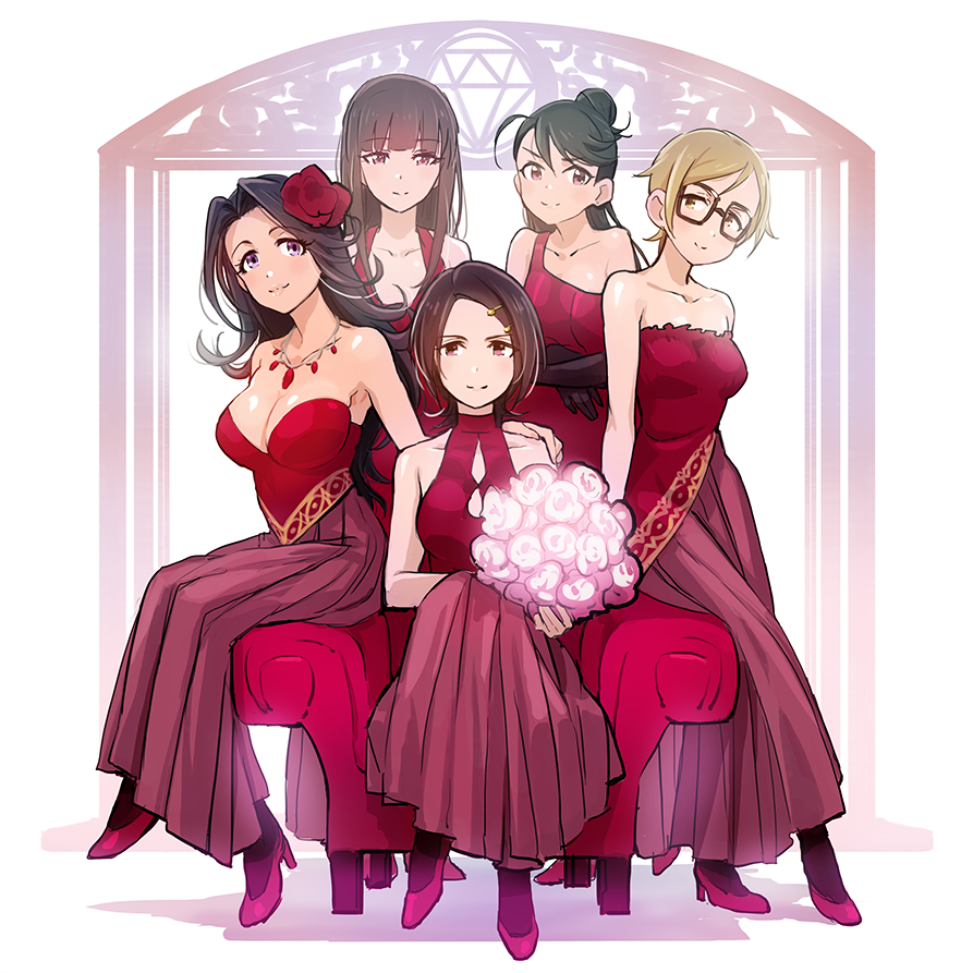 5girls bangs bare_shoulders black_gloves black_hair blonde_hair blunt_bangs bouquet breasts brown_hair character_request cleavage dress flower full_body glasses gloves hair_flower hair_ornament hairclip hand_on_another's_shoulder high_heels idolmaster idolmaster_cinderella_girls jewelry kamijou_haruna long_hair luncheon_meat_umai multiple_girls necklace purple_eyes red_ballad red_dress short_hair sitting smile takahashi_reiko tougou_ai yellow_eyes