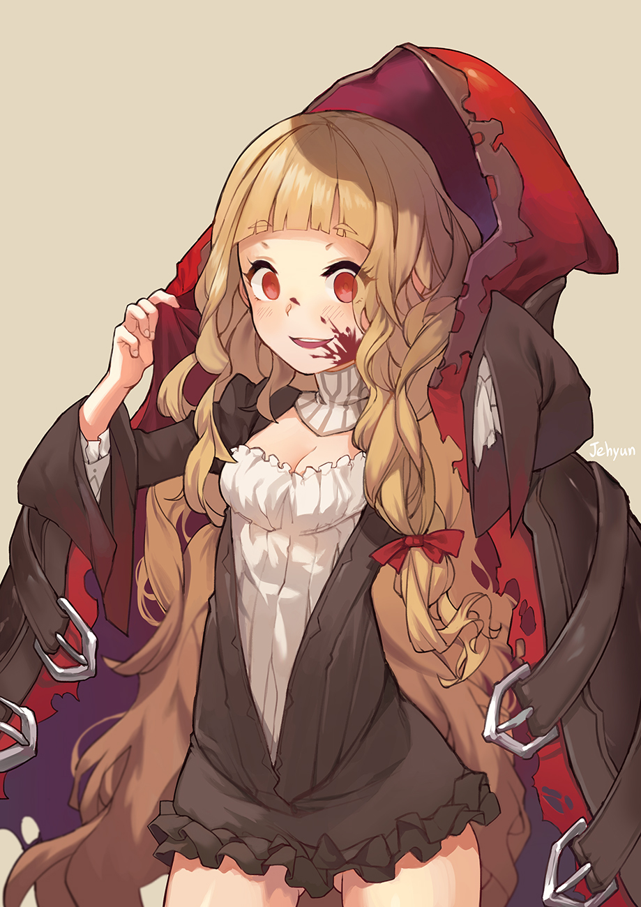 1girl adjusting_clothes ass_visible_through_thighs bangs blonde_hair blood blood_on_face blunt_bangs breasts brown_background cleavage cloak cowboy_shot empty_eyes eyebrows_visible_through_hair eyes_visible_through_hair highres hood hooded_cloak little_red_riding_hood_(sinoalice) long_hair long_sleeves open_mouth red_eyes simple_background sinoalice sjh very_long_hair