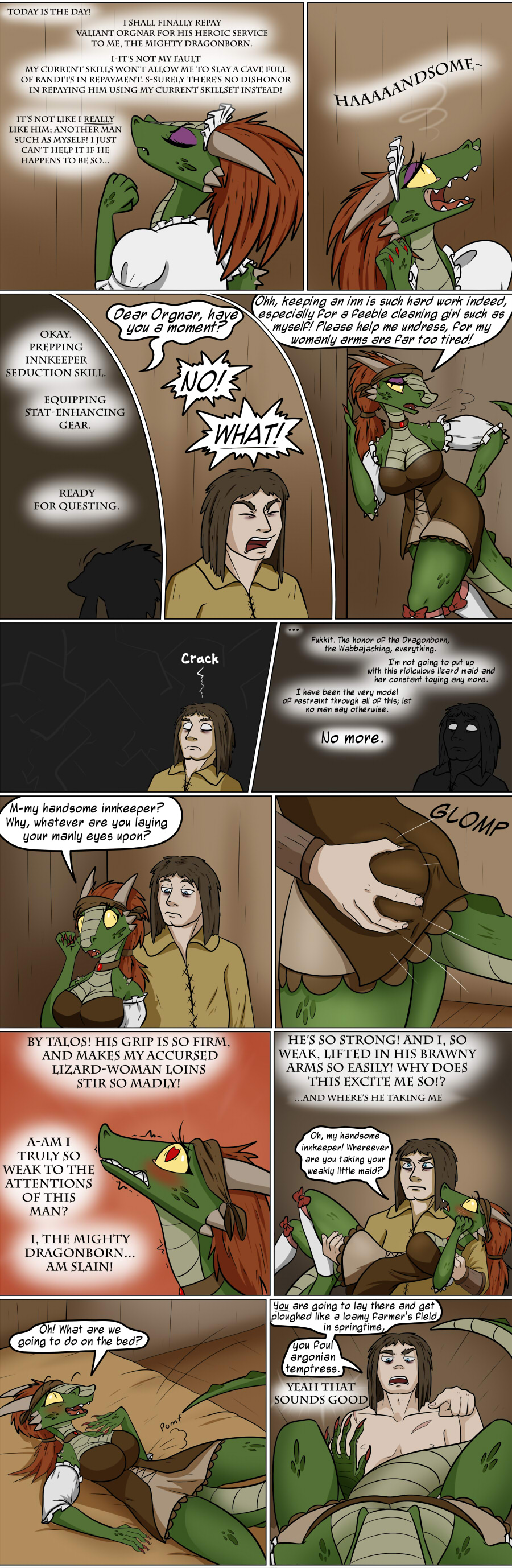 argonian breasts brown_hair butt butt_grab cleavage clothed clothing comic dialogue english_text female hair hand_on_butt human lifts-her-tail male male/female mammal mind_control red_hair scalie text the_elder_scrolls valsalia video_games yellow_eyes