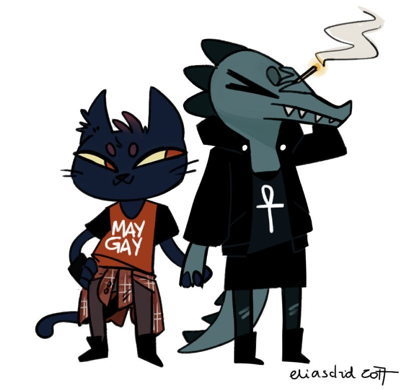 >:3 alligator ankh anthro bea_(nitw) boots cat cigarette clothing couple_(disambiguation) crocodilian duo eliasdrid english_text eyes_closed facepalm fangs feline female female/female footwear hand_holding looking_aside mae_(nitw) mammal night_in_the_woods reptile scalie sharp_teeth smoking teeth text