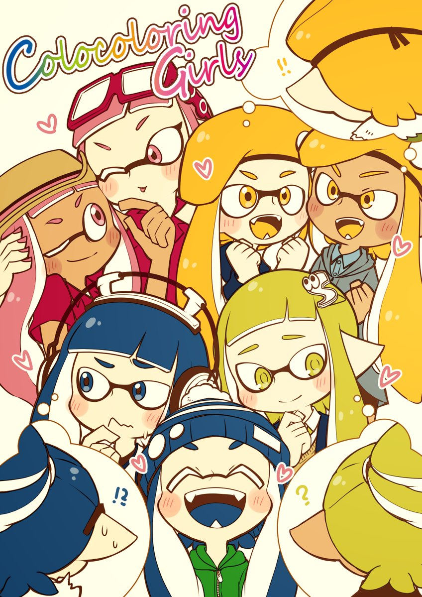 !! !? 3boys 6+girls ;) ;p ? army-kun_(splatoon) bangs beret blazer-chan_(splatoon) blonde_hair blue_eyes blue_hair blue_hat blue_tongue blush bobble-chan_(splatoon) bobblehat commentary_request cover cover_page dark_skin domino_mask doujin_cover dress_shirt english eyes_closed fangs forge-chan_(splatoon) glasses-kun_(splatoon) hair_ornament happamushi hat headphone-chan_(splatoon) headphones heart hood hoodie inkling light_smile long_hair mask multiple_boys multiple_girls octoglasses-chan_(splatoon) one_eye_closed open_mouth orange_eyes orange_hair orange_hat orange_tongue pink_eyes pink_hair pink_shirt pointy_ears raised_eyebrow rider-kun_(splatoon) sailor_white-chan_(splatoon) school_uniform shirt smile splatoon splatoon_(manga) straw-chan_(splatoon) sweatdrop thought_bubble tongue tongue_out wavy_mouth yellow_eyes
