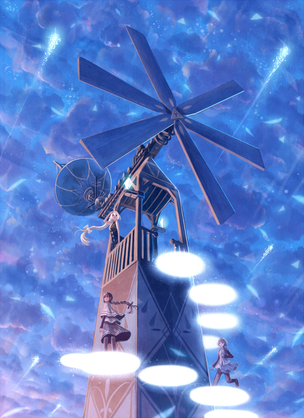 1girl 3girls ahoge bangs black_eyes blue_sky braid cloud cloudy_sky commentary_request fantasy hair_ribbon highres long_hair looking_afar magic multiple_girls original ribbon running sakimori_(hououbds) satellite_dish scenery skirt sky solo stairs thighhighs tower tress_ribbon white_hair wind_turbine windmill