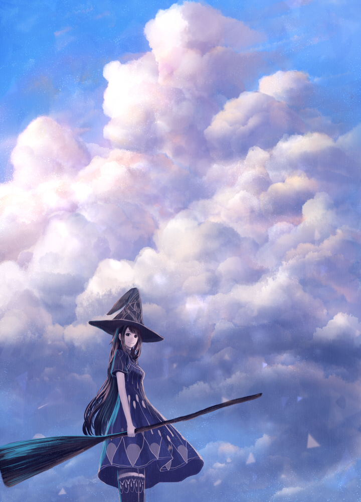 1girl black_eyes black_hair blue_sky broom cloud cloudy_sky hat holding holding_broom long_hair looking_at_viewer original sakimori_(hououbds) scenery short_sleeves sky smile solo thighhighs witch witch_hat