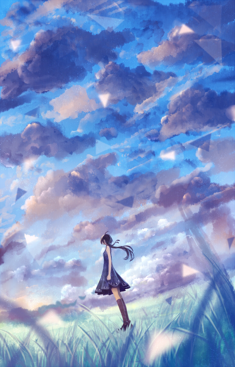 1girl ahoge bare_arms bare_shoulders black_hair blue blue_dress blue_sky clenched_hand cloud cloudy_sky dress grass highres kneehighs long_hair original ponytail sakimori_(hououbds) scenery sky solo