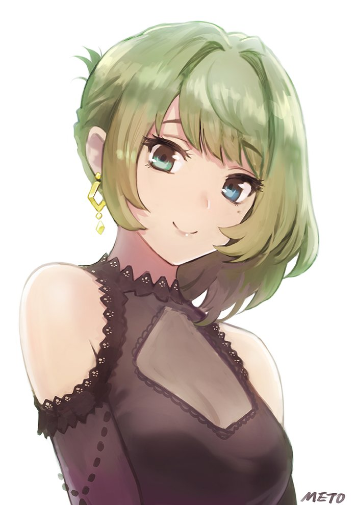1girl artist_name black_dress blue_eyes commentary_request dress earrings green_eyes green_hair heterochromia idolmaster idolmaster_cinderella_girls jewelry looking_at_viewer meto31 mole mole_under_eye short_hair simple_background smile solo takagaki_kaede upper_body white_background