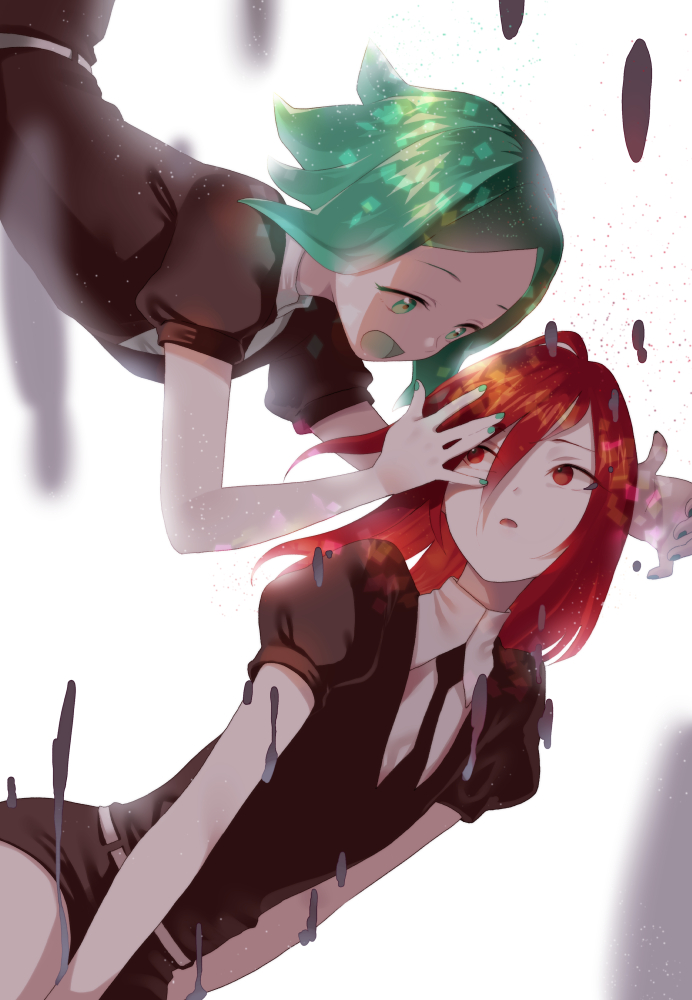 androgynous black_neckwear black_shorts furururu green_eyes green_hair houseki_no_kuni long_hair mercury necktie phosphophyllite red_eyes red_hair shinsha_(houseki_no_kuni) shirt short_hair short_sleeves shorts uniform white_shirt