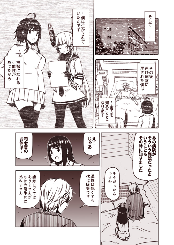 1boy 3girls admiral_(kantai_collection) ahoge comic dress eyes_closed female_admiral_(kantai_collection) fubuki_(kantai_collection) gloves hair_ribbon headgear kantai_collection kouji_(campus_life) long_hair monochrome multiple_girls murakumo_(kantai_collection) open_mouth pantyhose partly_fingerless_gloves pleated_skirt ribbon sailor_collar sailor_dress sepia shaded_face short_hair short_sleeves skirt snowing speech_bubble thighhighs translation_request tress_ribbon