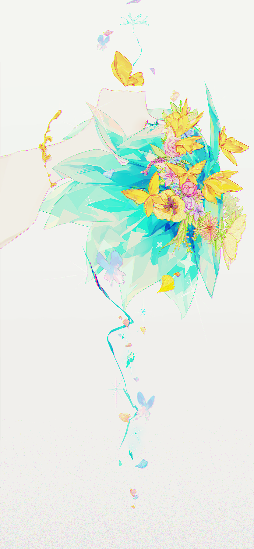 androgynous butterfly flower green_eyes green_hair highres houseki_no_kuni phosphophyllite short_hair solo