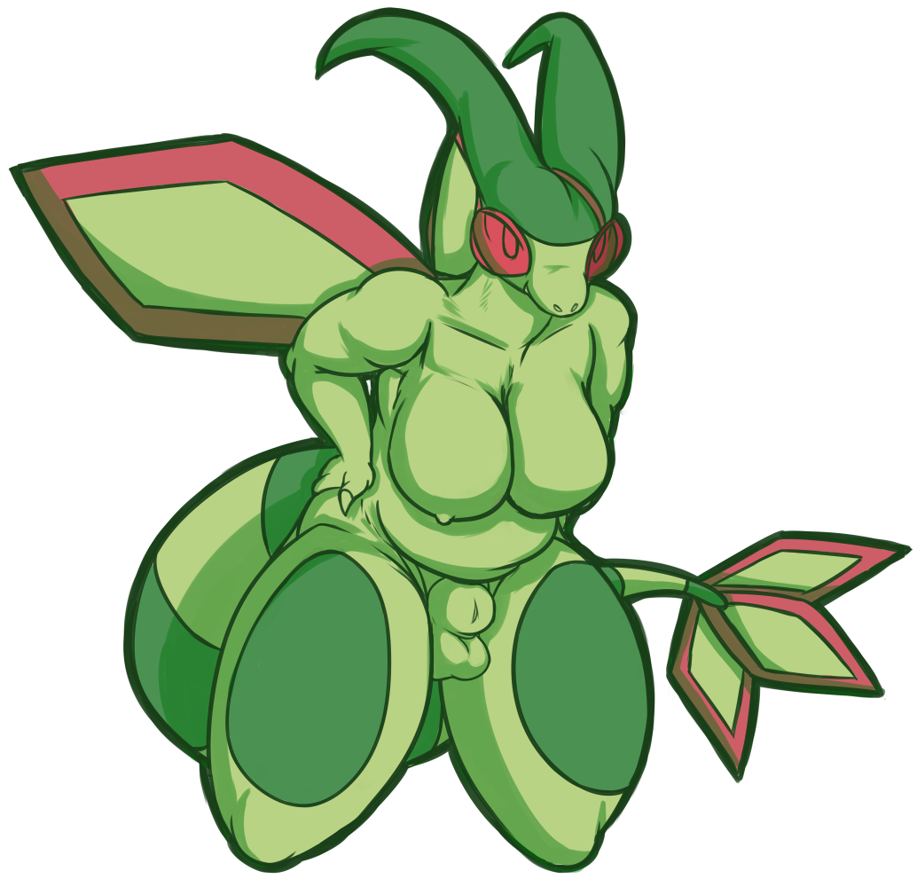 animal_genitalia anthro balls belly breasts dickgirl flygon front_view fully_sheathed girtrude_clax green_skin hands_on_hips horn intersex kneeling nintendo nipples nude pokémon pokémon_(species) red_eyes scalie sheath simple_background solo thestrider video_games white_background wings
