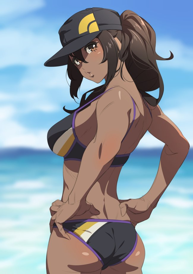 1girl ass bare_shoulders baseball_cap bikini black_bikini blue_sky blush breasts brown_eyes brown_hair commentary_request dark_skin day female_protagonist_(pokemon_go) from_behind fukushi_ryouhei hair_between_eyes hands_on_hips hat lips long_hair looking_at_viewer looking_back medium_breasts ocean outdoors pokemon pokemon_go ponytail shiny shiny_hair shiny_skin sky solo standing swimsuit