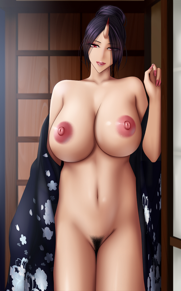 areolae baru_(val-val) black_hair breasts curvy demon_girl hair_bun hair_over_one_eye highres horn huge_breasts indoors japanese_clothes kimono lips looking_at_viewer monster_girl nail_polish navel nipples nude oni pubic_hair puffy_nipples purple_hair red_eyes smile solo