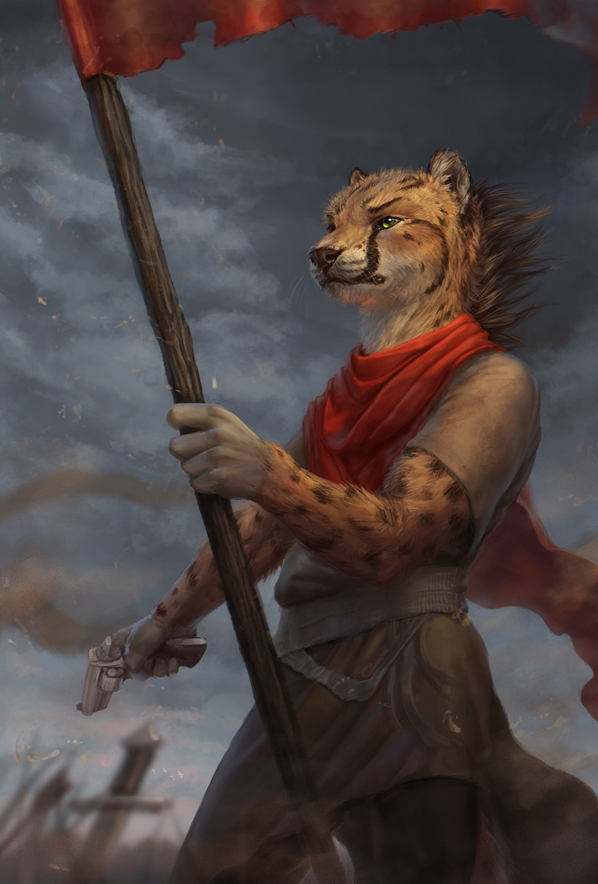 anthro cheetah clothed clothing cloud feline flag fur green_eyes gun handgun inner_ear_fluff latex_(artist) male mammal melee_weapon outside ranged_weapon revolver sky solo spots spotted_fur standing sword weapon whiskers