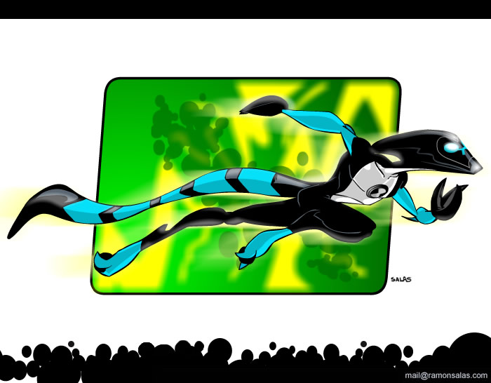 2007 2_toes 3_fingers abstract_background alien armor athletic ben_10 black_claws cartoon_network claws digital_drawing_(artwork) digital_media_(artwork) helmet kineceleran long_tail ramonsalas running signature solo striped_tail stripes toes xlr8