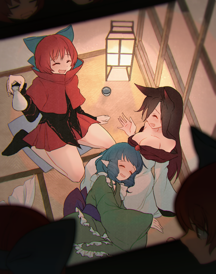 3girls animal_ears banned_artist bare_shoulders blouse blue_bow blue_hair bottle bow breasts brown_hair cape cleavage cup disembodied_head drill_hair eyes_closed from_above green_kimono hair_bow hand_up holding imaizumi_kagerou indoors japanese_clothes kimono lamp large_breasts long_hair long_sleeves mermaid miniskirt monster_girl multiple_girls red_hair red_skirt sake_bottle sekibanki short_hair sitting skirt sleeping smile tatami touhou towako_(10wk0) wakasagihime wariza wolf_ears