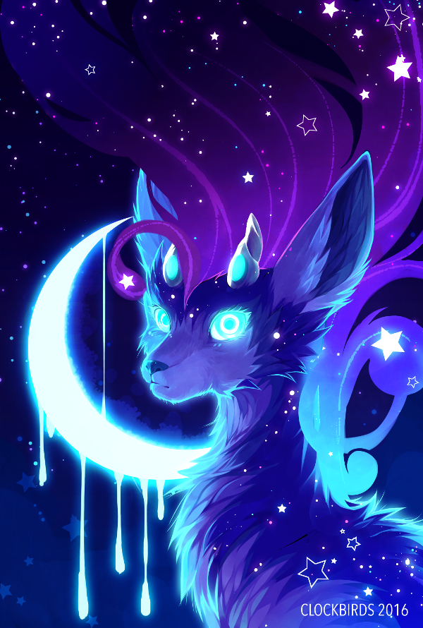 2016 ambiguous_gender blue_eyes blue_fur blue_hair blue_theme cervine clockbirds countershading crescent_moon dark_theme deer detailed_background dripping feral fur glowing glowing_eyes grey_countershading hair horn ixi looking_at_viewer looking_back mammal moon neopets night outside portrait purple_hair sky solo star starry_sky