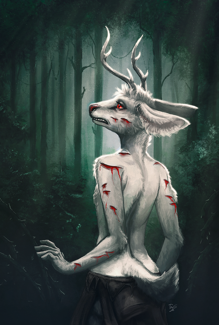 antlers blood cervine clothed clothing day deer detailed_background forest fur horn male mammal outside red_eyes solo tasanko topless tree white_fur