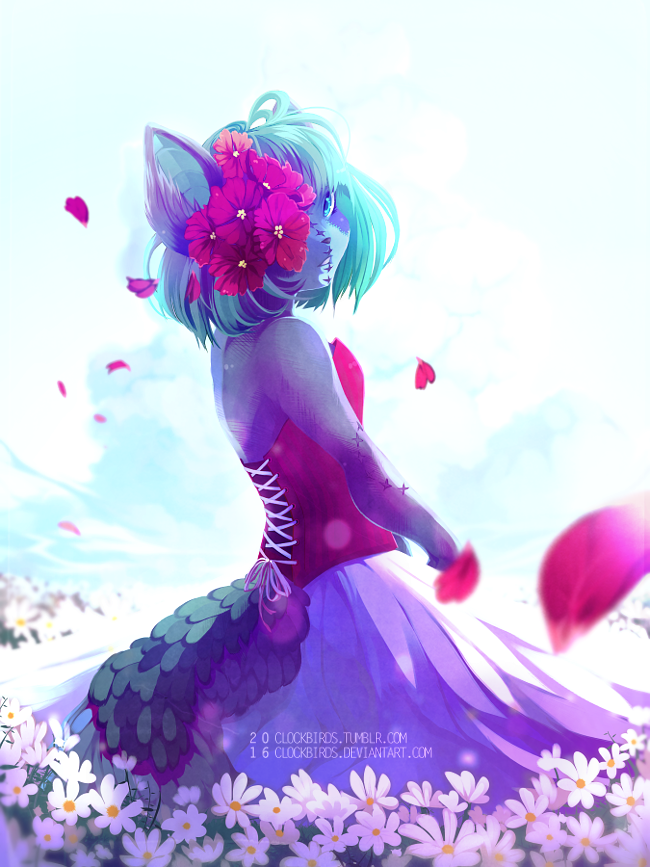 anthro blue_countershading blue_eyes blue_hair breasts canine clockbirds clothed clothing corset countershading detailed_background dress female flower_petals flowers_in_hair fully_clothed fur hair lacing lingerie looking_at_viewer looking_back mammal neopets outside patchwork petals portrait purple_fur simple_background sky solo standing white_background xweetok