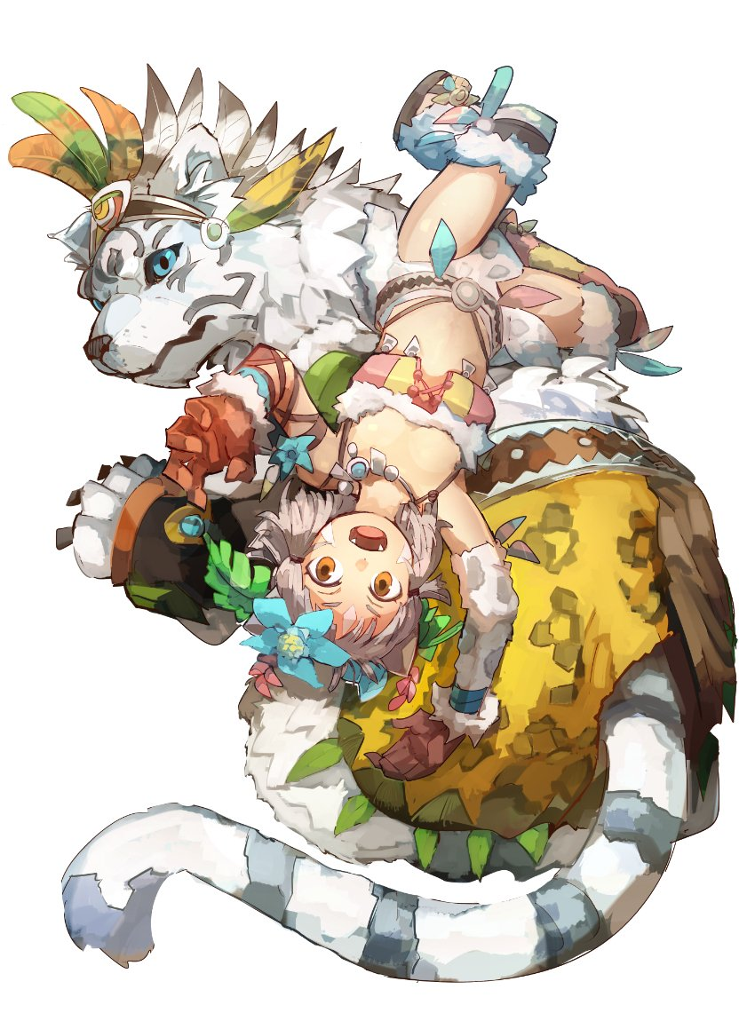 animal animal_ears anklet bangs blunt_bangs byakko_(xenoblade) cat_ears geetgeet jewelry loincloth looking_at_viewer niyah short_hair silver_hair smile tiger tribal xenoblade xenoblade_2 yellow_eyes