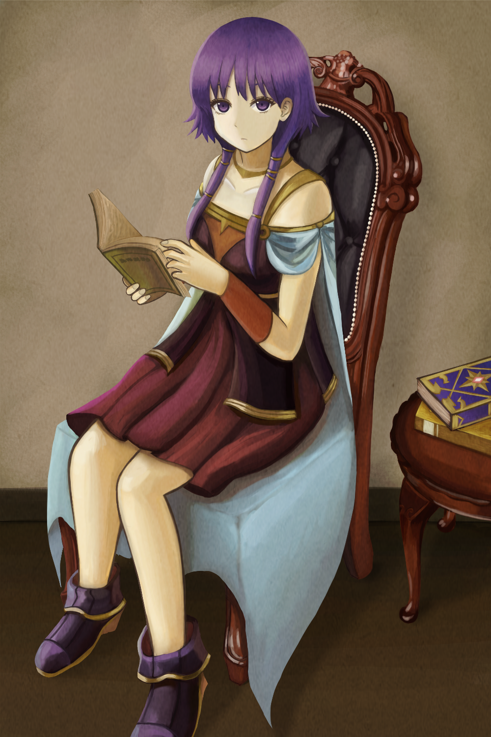 1girl bare_shoulders book boots bracer cape chair dress fire_emblem fire_emblem:_seima_no_kouseki highres jewelry kage_(detteiutteiu) long_hair lute_(fire_emblem) necklace purple_eyes purple_hair reading sitting solo table twintails
