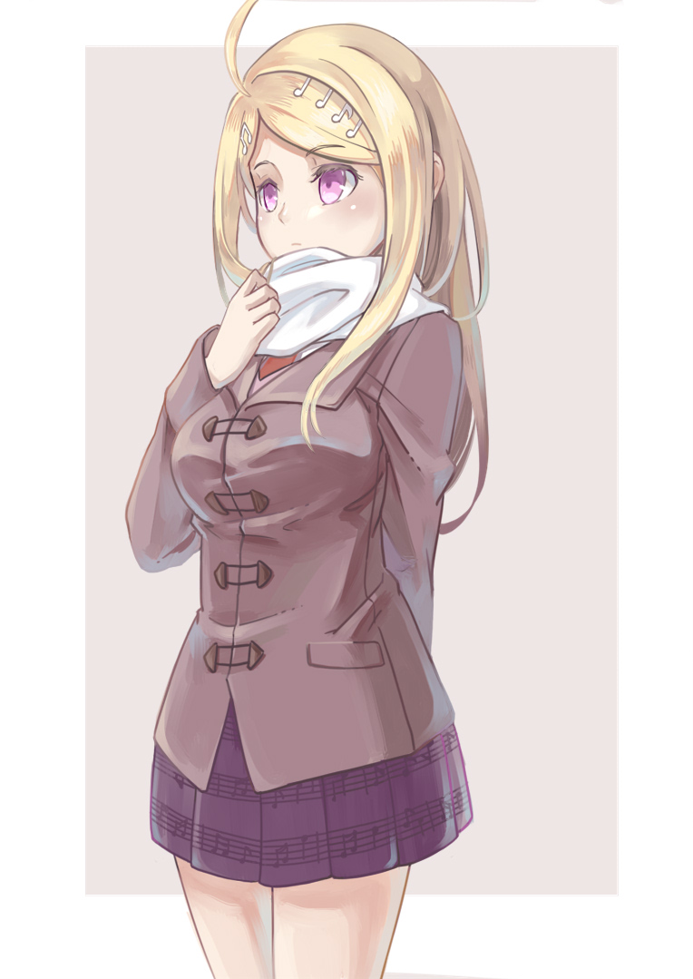 1girl akamatsu_kaede alternate_costume arm_behind_back bangs beamed_quavers blonde_hair blush breasts brown_background closed_mouth cowboy_shot crochet danganronpa duffel_coat eyebrows_visible_through_hair long_hair long_sleeves looking_afar looking_away medium_breasts musical_note musical_note_hair_ornament musical_note_print new_danganronpa_v3 pleated_skirt print_skirt purple_eyes purple_skirt quaver scarf shiro_q~ simple_background skirt solo standing swept_bangs tareme white_scarf