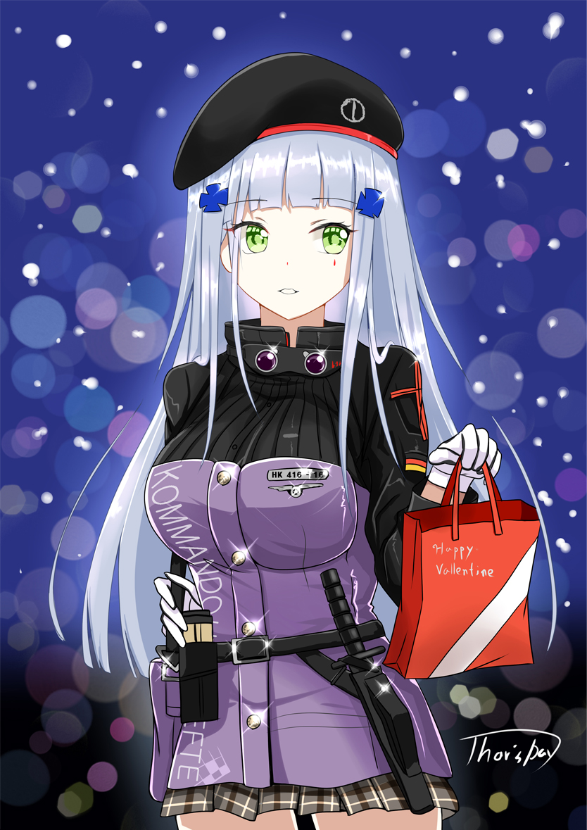 1girl ammunition_pouch bangs belt beret black_legwear blunt_bangs blurry blush bokeh breasts buckle buttons combat_knife depth_of_field eyebrows_visible_through_hair eyes_visible_through_hair facepaint german_flag gift_bag girls_frontline gloves green_eyes hair_ornament hat hk416_(girls_frontline) holding_bag jacket knife knife_holster light_particles long_hair looking_at_viewer open_mouth plaid plaid_skirt pleated_skirt shailiar signature silver_hair skirt smile solo sparkle teardrop thighhighs thighs valentie weapon white_hair