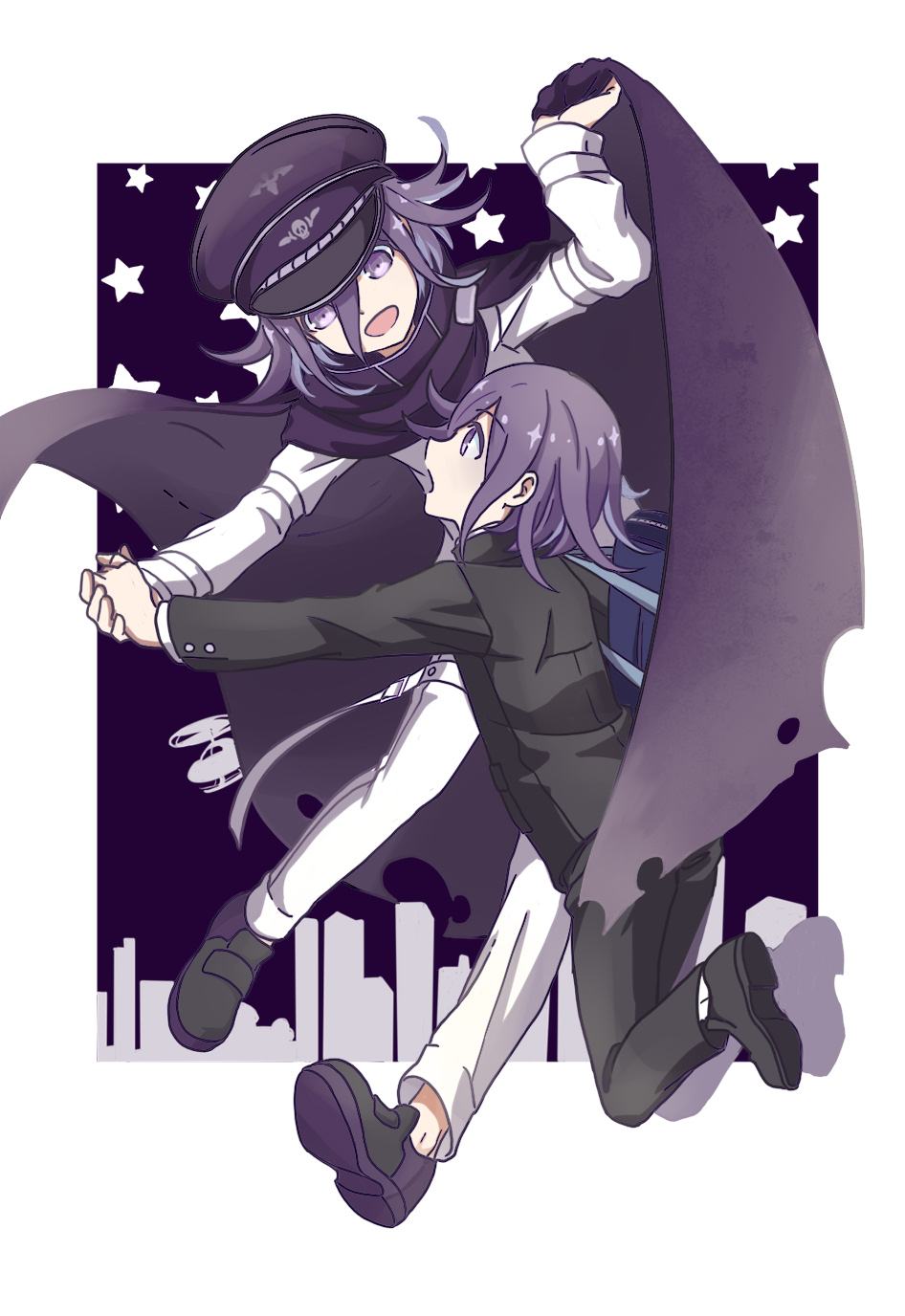 :d :o aircraft bag black_cape black_footwear black_hat black_pants black_shirt cape danganronpa dual_persona eyebrows_visible_through_hair full_body hair_between_eyes hat helicopter highres holding_hands long_sleeves male_focus new_danganronpa_v3 no_socks open_mouth ouma_kokichi pants peaked_cap purple_eyes purple_hair school_bag school_uniform shiro_q~ shirt shoes skull_print smile star starry_background white_pants white_shirt