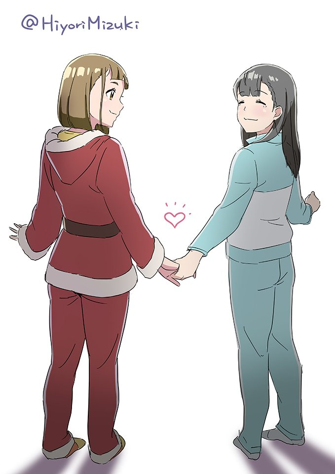 ^_^ bangs blunt_bangs blush brown_eyes brown_hair closed_eyes commentary_request eyebrows_visible_through_hair heart hiyori_mizuki holding_hands multiple_girls pajamas santa_costume shadow shiny shiny_skin shiraishi_yuzuki simple_background sketch slippers smile socks sora_yori_mo_tooi_basho tamaki_mari twitter_username white_background