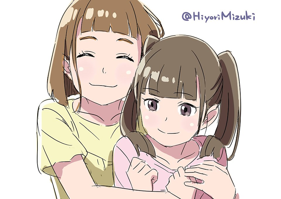 2girls ^_^ bangs blunt_bangs brown_hair commentary eyebrows_visible_through_hair eyes_closed grey_eyes hiyori_mizuki hug hug_from_behind long_hair multiple_girls shirt short_hair short_sleeves siblings simple_background sisters sketch sora_yori_mo_tooi_basho t-shirt tamaki_mari tamaki_rin twintails twitter_username white_background