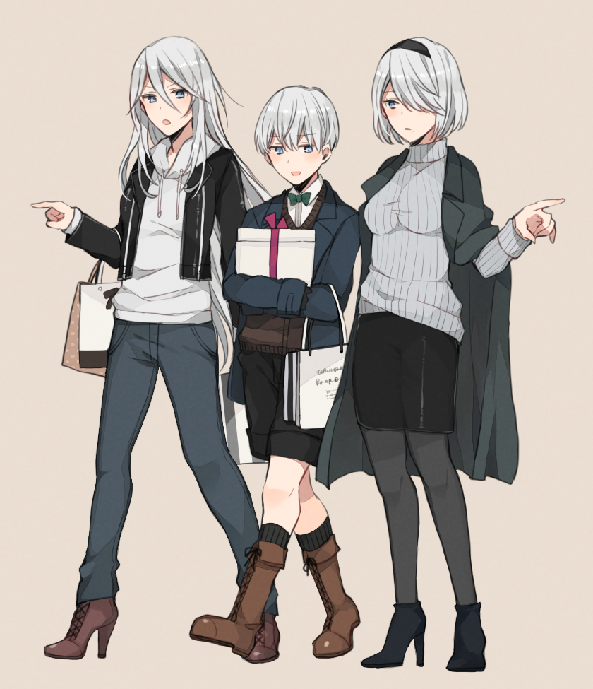 1boy 2girls :d alternate_costume black_footwear black_hairband black_jacket black_shorts black_skirt blue_jacket boots brown_footwear carrying_bag casual denim full_body gift grey_sweater hair_over_one_eye hairband high_heel_boots high_heels holding holding_gift jacket jacket_on_shoulders jeans kurosawa_kazuto long_hair long_sleeves looking_at_another looking_down mole mole_under_mouth multiple_girls nier_(series) nier_automata open_clothes open_jacket open_mouth pants pantyhose pointing_to_the_side short_hair shorts silver_hair simple_background skirt smile striped vertical_stripes very_long_hair white_hoodie yorha_no._2_type_b yorha_no._9_type_s yorha_type_a_no._2
