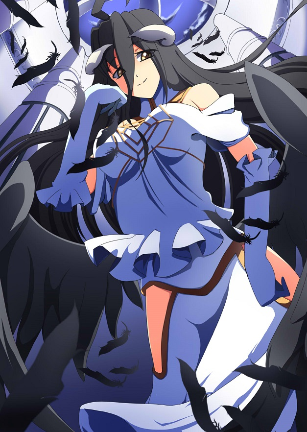 albedo bare_shoulders black_hair breasts demon_girl demon_horns demon_wings dress feathers feel1208 gloves hair_between_eyes horns large_breasts long_hair overlord_(maruyama) solo thighhighs white_dress white_gloves wings yellow_eyes