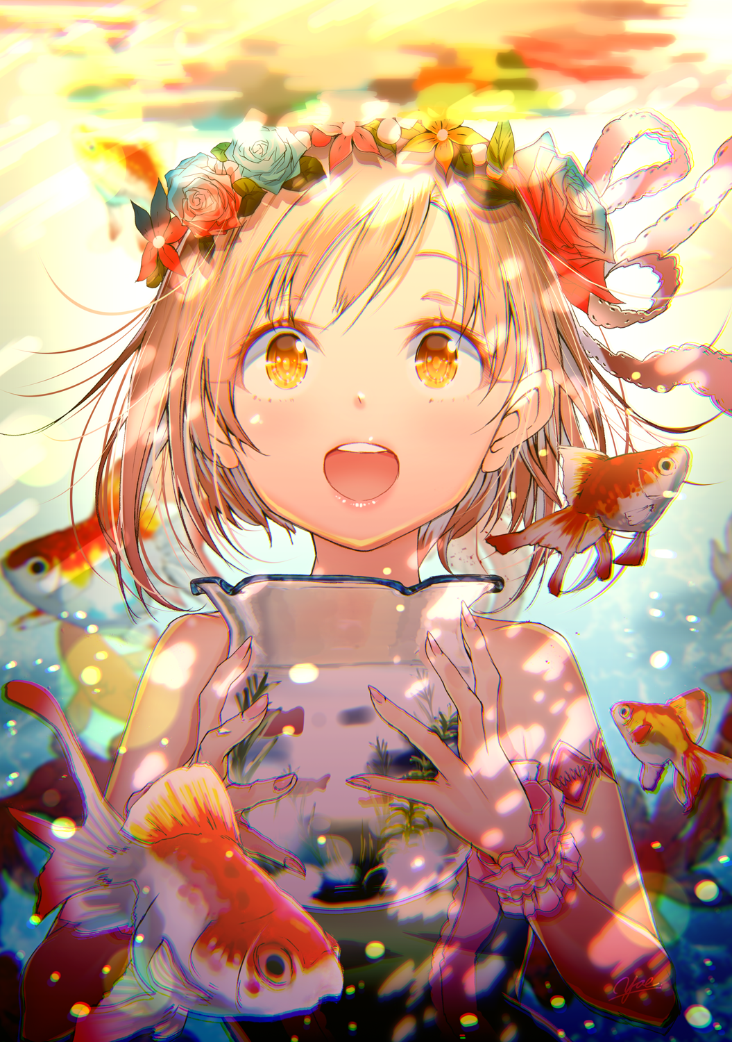 1girl aiba_yumi air_bubble bare_shoulders blonde_hair blush brown_eyes bubble commentary_request fish fish_tank floating_hair flower goldfish hair_flower hair_ornament hair_ribbon headband highres holding idolmaster idolmaster_cinderella_girls looking_at_viewer open_mouth ribbon scrunchie short_hair smile solo submerged underwater water wrist_scrunchie yae_(mono110)
