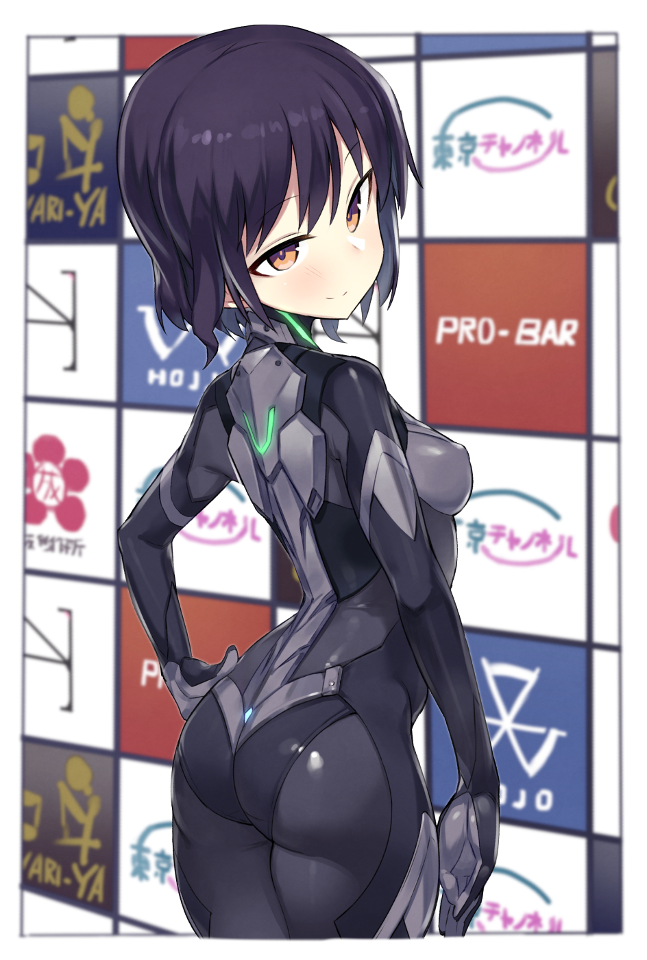 1girl alice_gear_aegis ass bangs black_hair blurry blush bodysuit breasts brown_eyes closed_mouth cowboy_shot depth_of_field erect_nipples eyebrows_visible_through_hair highres kylin looking_at_viewer looking_back niiya_serina short_hair small_breasts smile solo tsurime